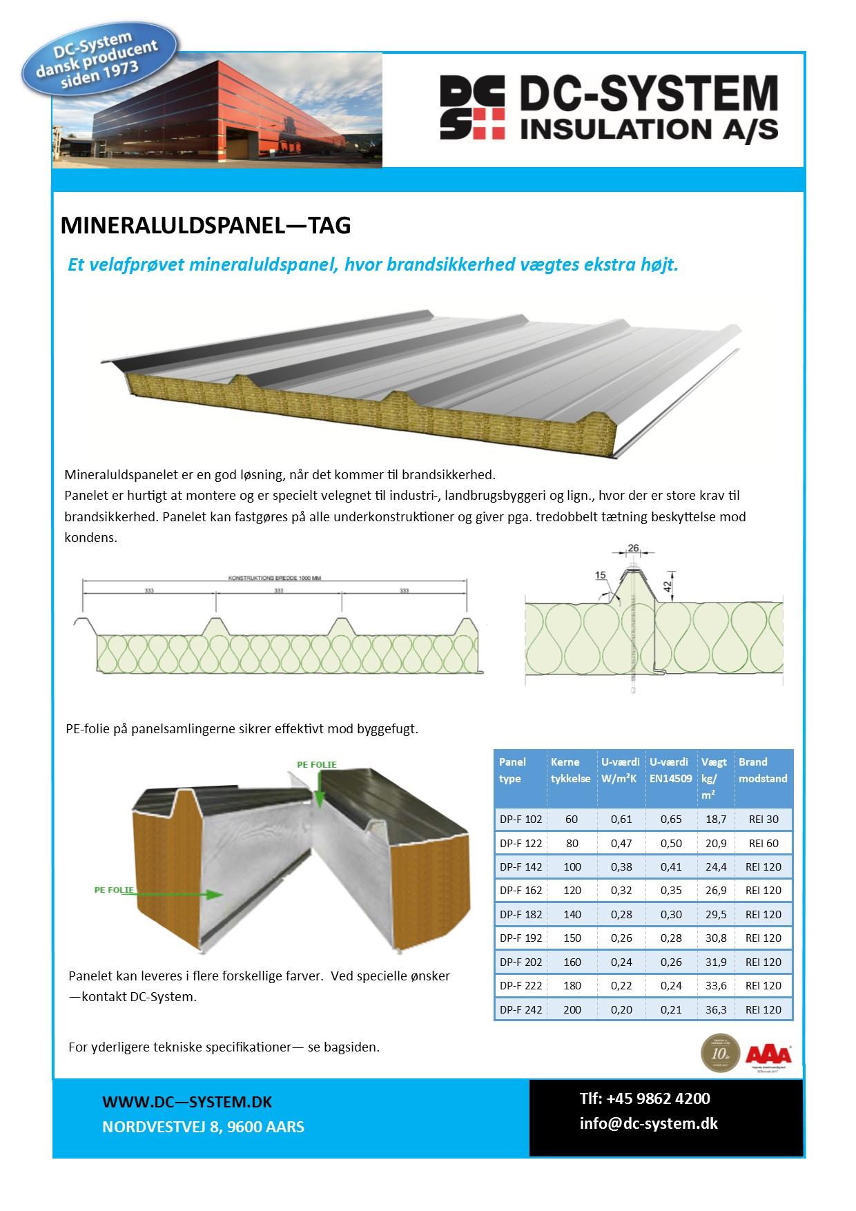 DC-System mineraluldspanel til tage